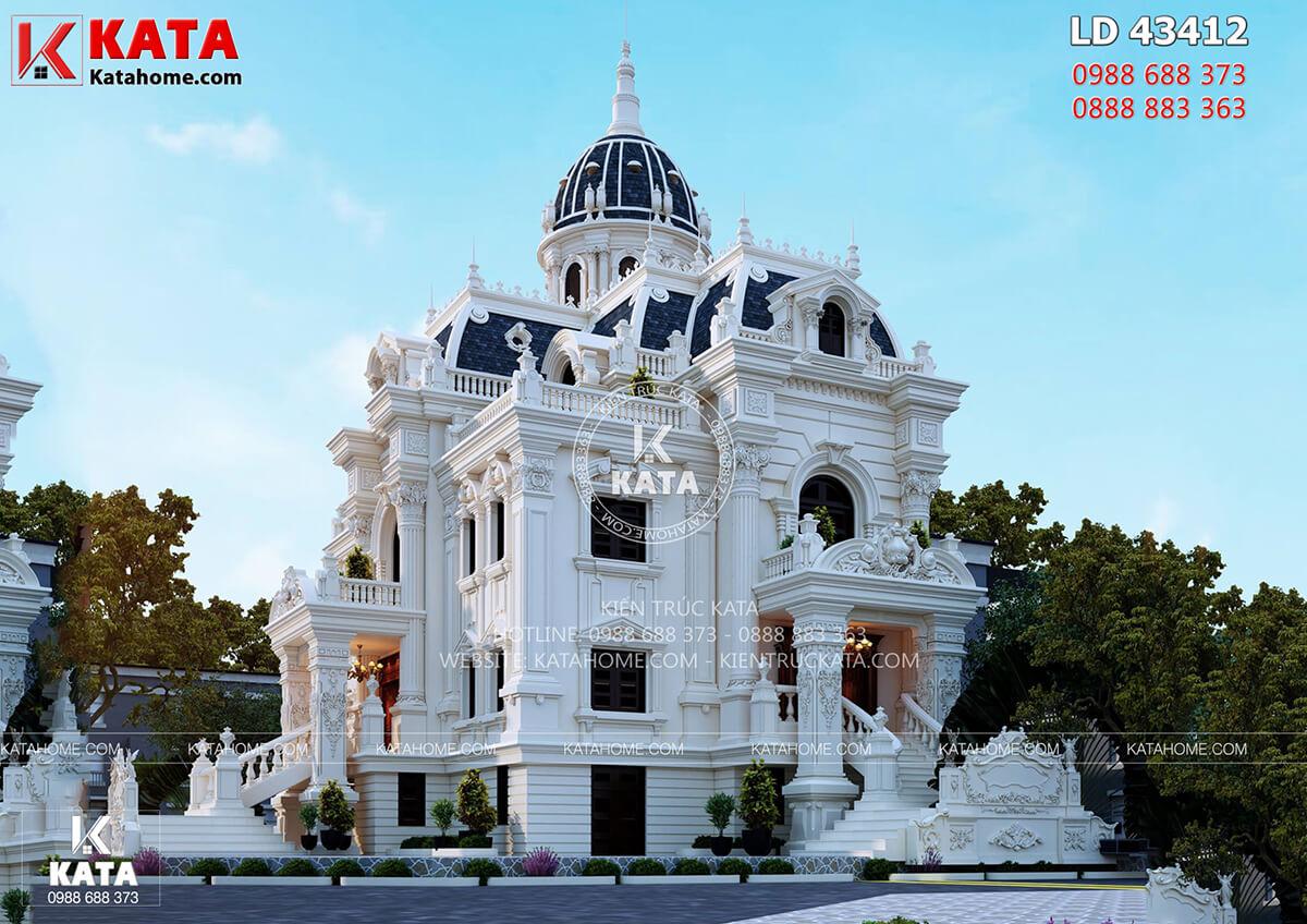 Mặt tiền của mẫu thiết kế lâu đài dinh thự đẹp 4 tầng tại Hải Dương