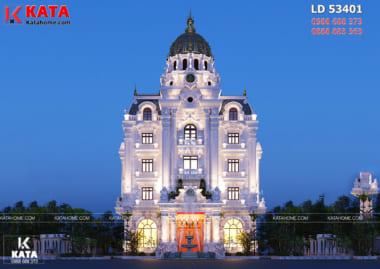 Phối cảnh 3D chi tiết của mẫu thiết kế lâu đài tân cổ điển 5 tầng đẹp