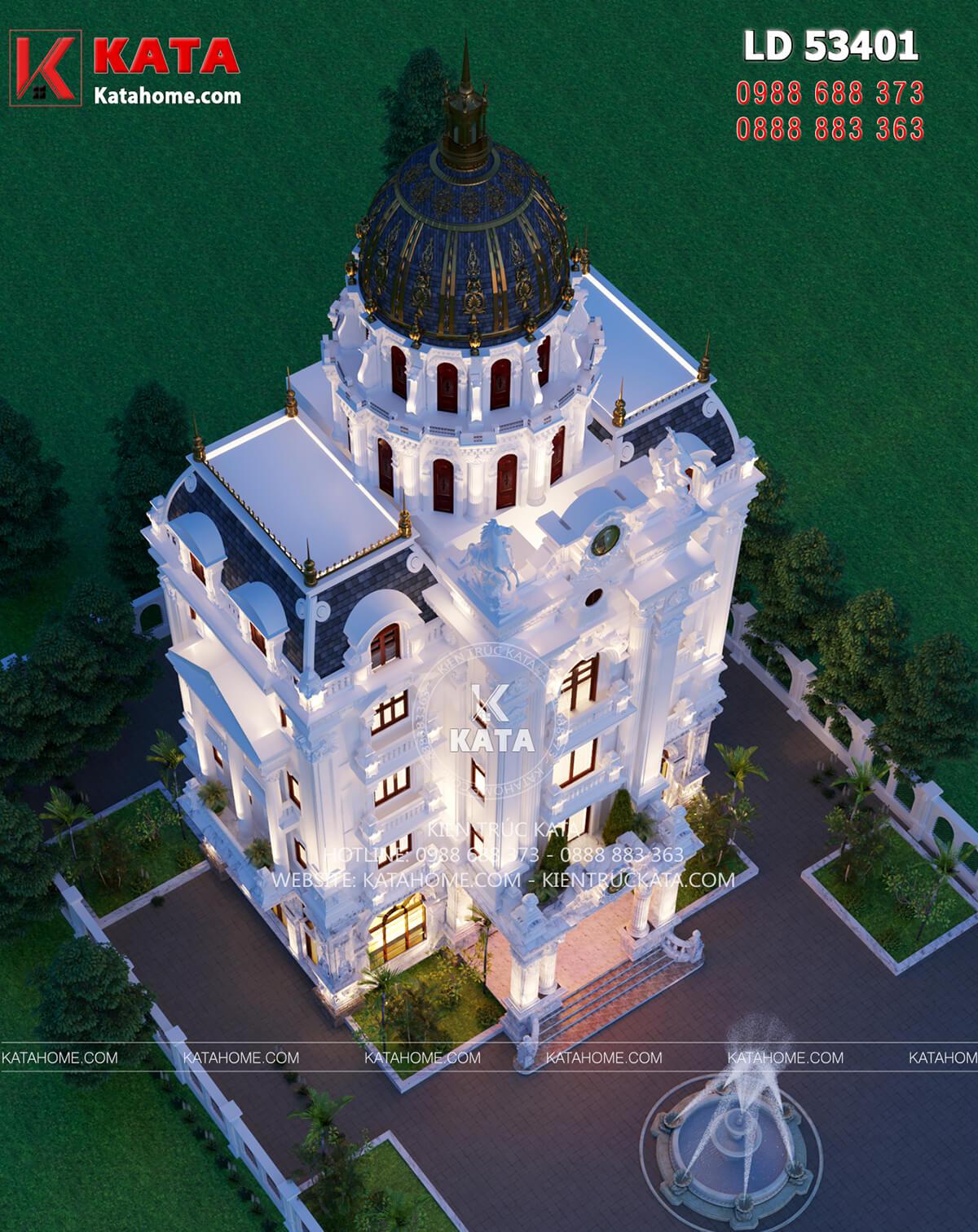 Không gian sân vườn của mẫu thiết kế lâu đài tân cổ điển 5 tầng