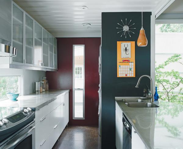 Cách bài trí không gian nội thất phòng bếp - phòng khách đẹp cho mẫu nhà công ten nơ đẹp - 1