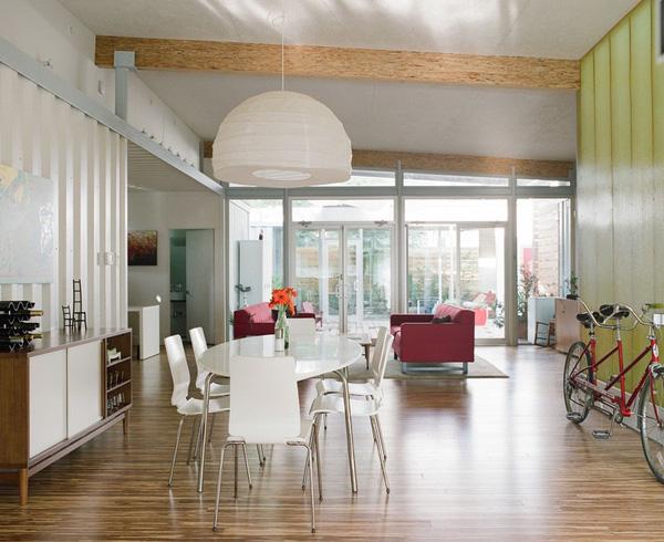 Cách bài trí không gian nội thất phòng bếp - phòng khách đẹp cho mẫu nhà công ten nơ đẹp