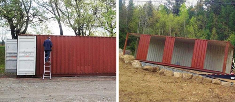 Kết cấu nhà Container với 4 thùng hàng lớn