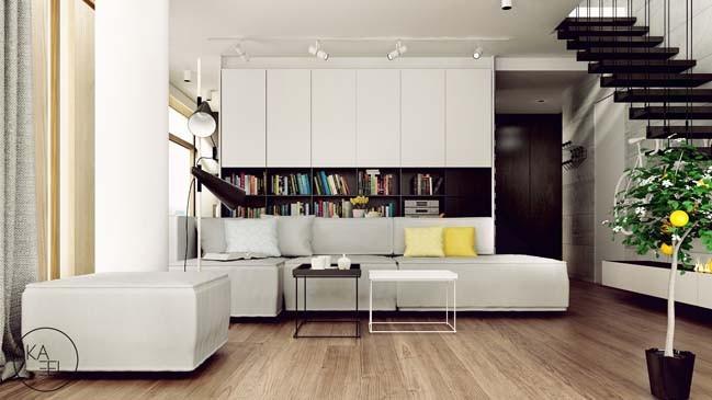 Vẫn là sàn lót gỗ, cầu thang gỗ nhưng đì kèm những tone màu trung tính