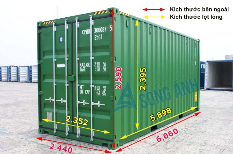 Kích thước Container 20 feet khô