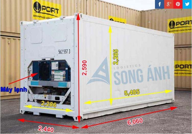 Kích thước Container 20 feet lạnh