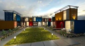Khu nhà nghỉ là phức hợp 16 container đầy màu sắc được xếp cạnh hoặc chồng lên nhau