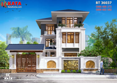 Không gian ngoại thất của mẫu biệt thự mái Thái hiện đại 3 tầng đẹp