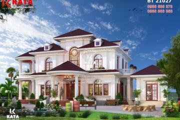 Không gian ngoại thất của mẫu nhà đẹp 2 tầng tại Lạng Sơn