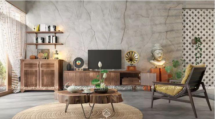 Phong cách tĩnh tại của Phật giáo - Nội thất phòng khách đẹp