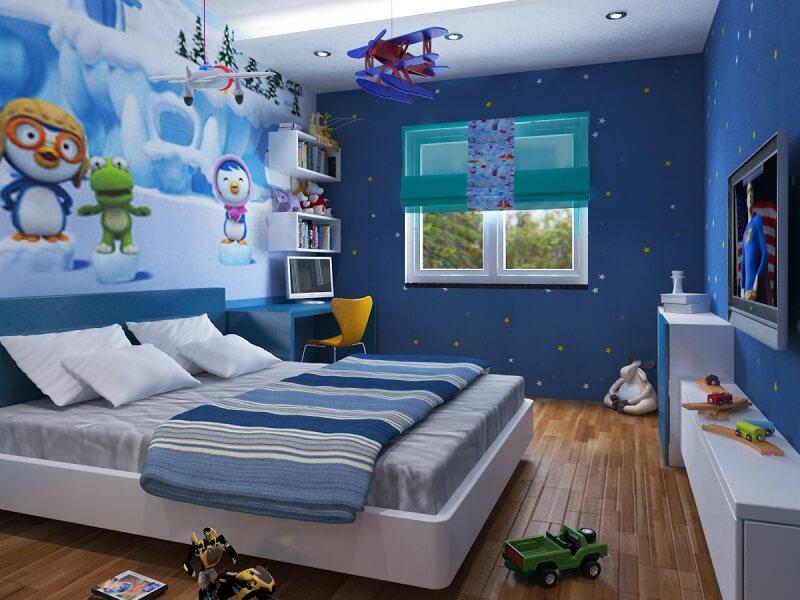 Giấy dán tường kết hợp hình ảnh sinh động - Trang trí phòng ngủ