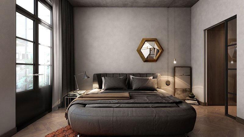 Chất liệu bê tông thô - Trang trí phòng ngủ