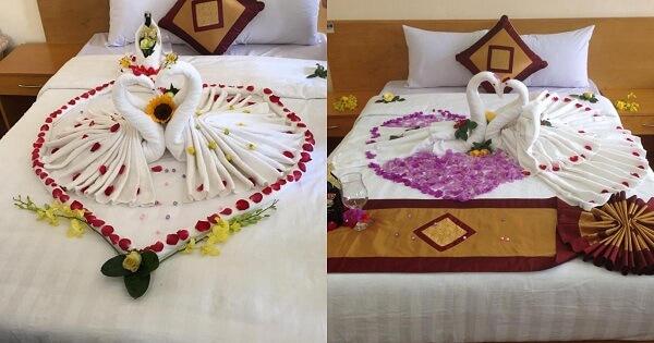 Khăn tắm - Trang trí phòng cưới