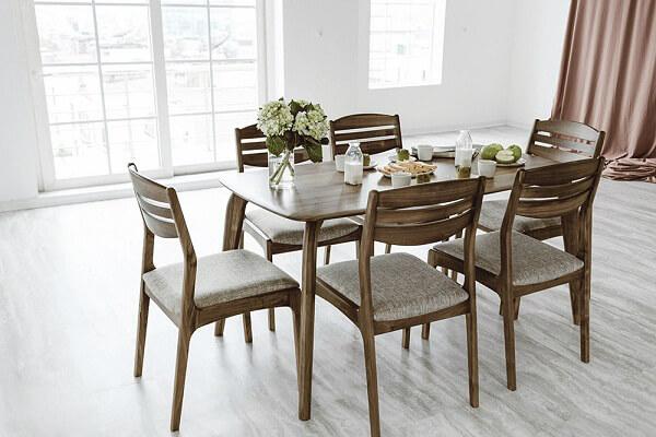 Bộ bàn ăn đẹp bằng gỗ óc chó 6 ghế ngồi