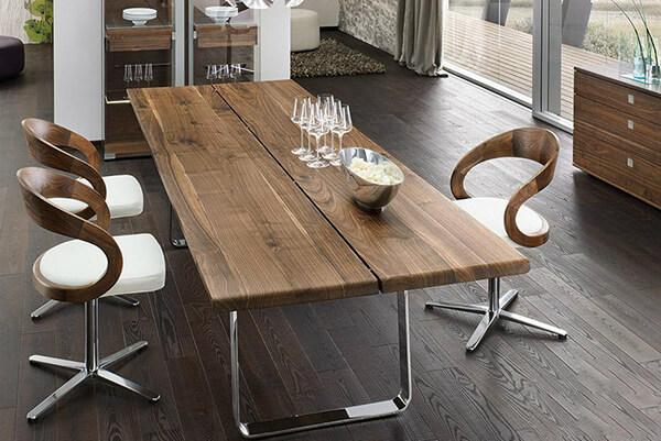 Bộ bàn ăn đẹp với khung gỗ hình chữ