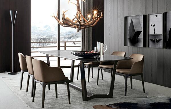 Bộ bàn ăn đẹp với chân gỗ hình thang