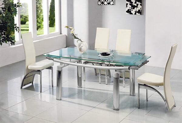 Bộ bàn ăn đẹp bằng kính và ghế bọc da tinh tế