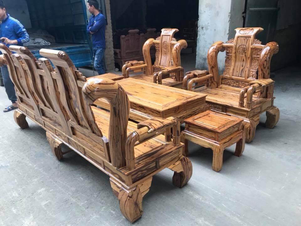 Bộ bàn ghế phòng khách đẹp - Tần Thủy Hoàng gỗ mun hoa