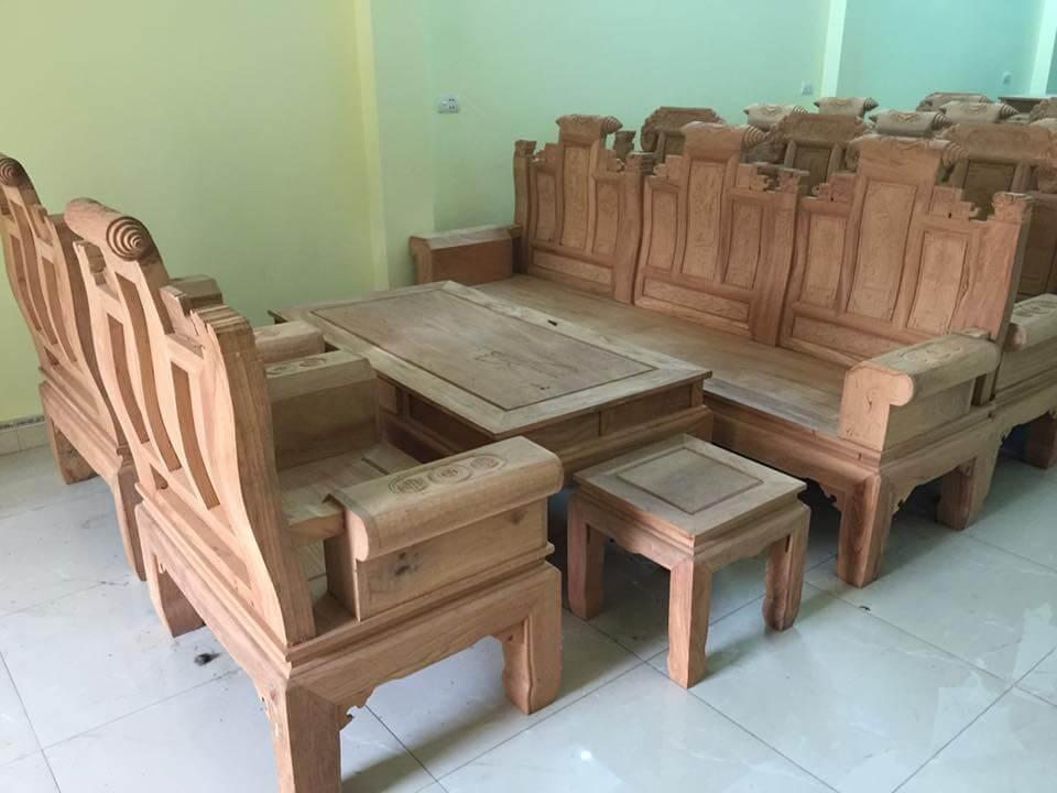 Bộ bàn ghế phòng khách đẹp theo phong cách Âu - Á hộp gỗ Cà te