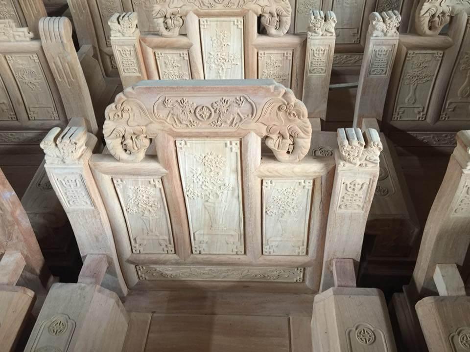 Bộ bàn ghế phòng khách đẹp theo phong cách Âu - Á hộp gỗ Cà te - 1