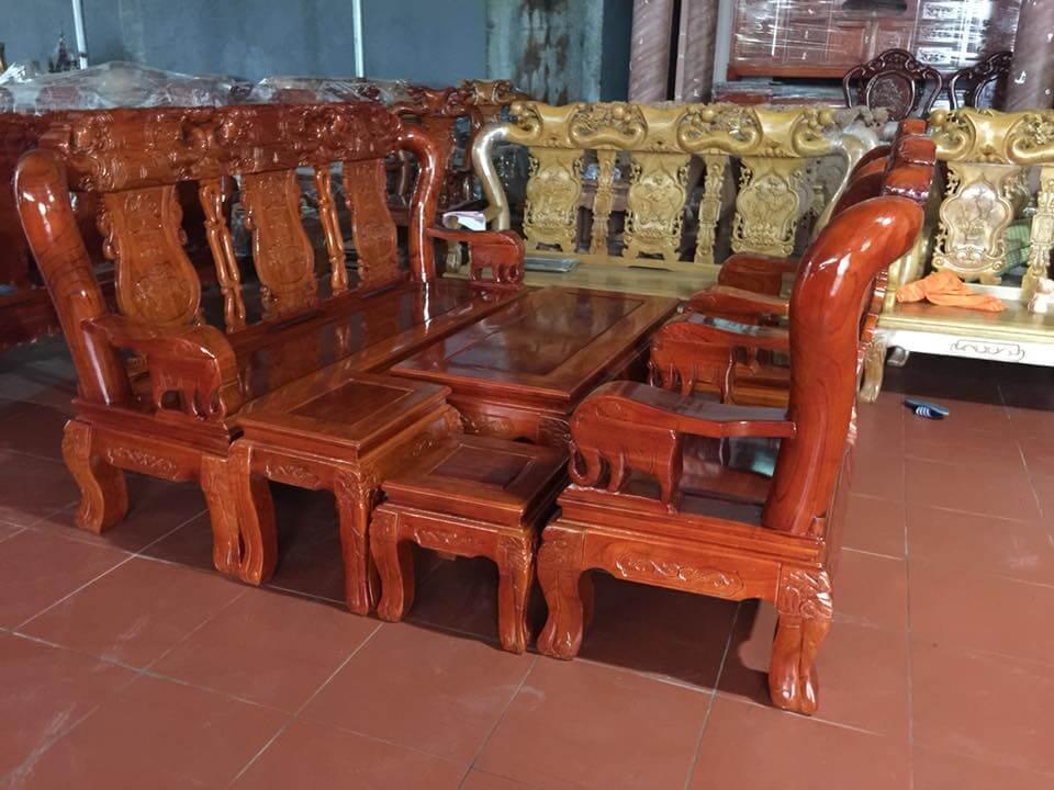 Bộ bàn ghế gỗ phòng khách đẹp quốc voi gỗ xoan