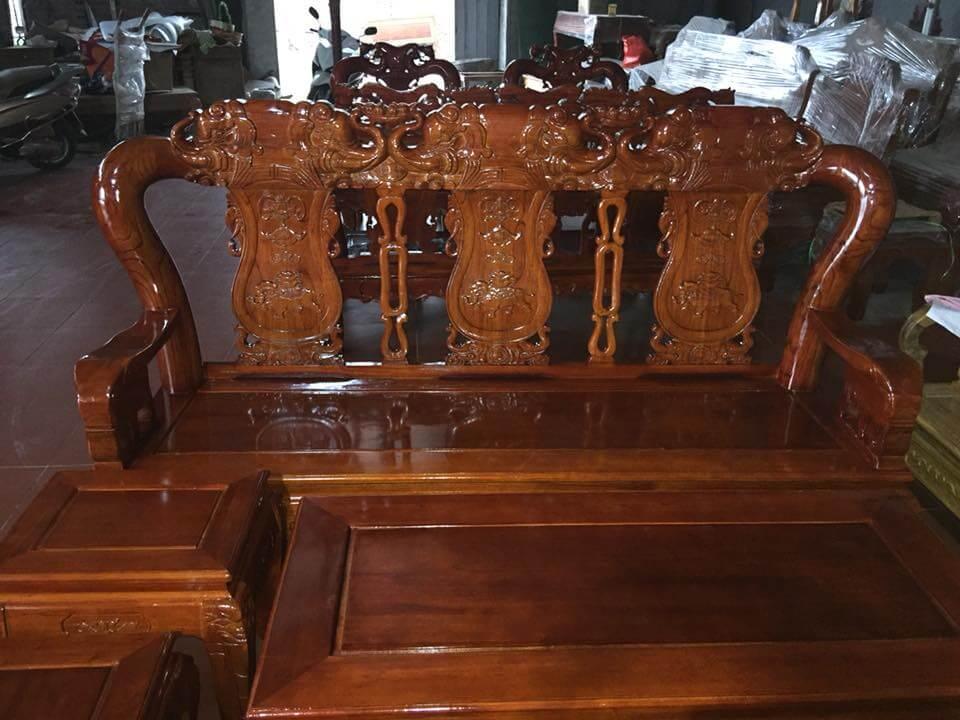 Bộ bàn ghế gỗ phòng khách đẹp quốc voi gỗ xoan - 1
