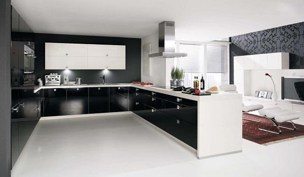 Mẫu tủ bếp đẹp hình chữ U cho không gian phòng bếp lớn