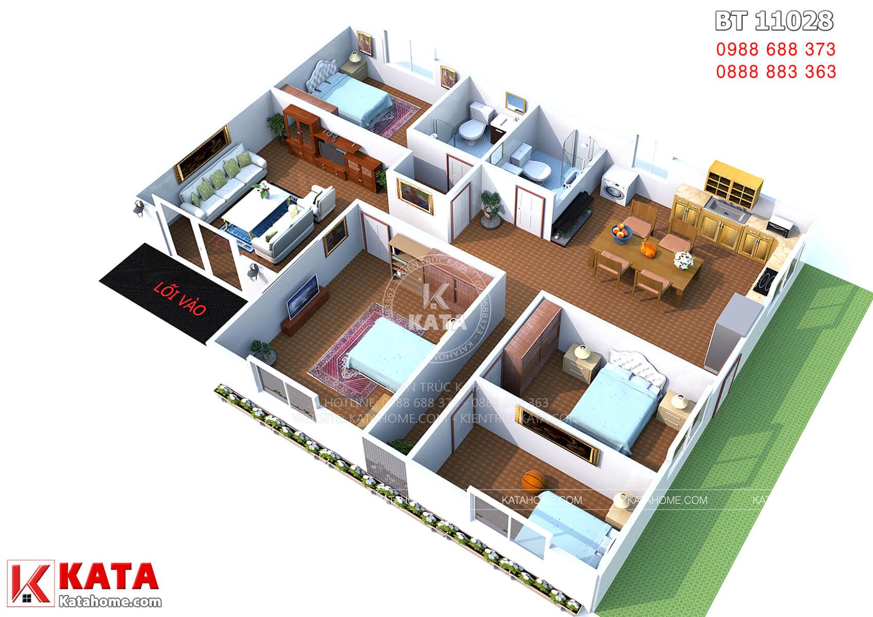 Mặt bằng bố trí đồ nội thất mẫu nhà cấp 4 đẹp 4 phòng ngủ