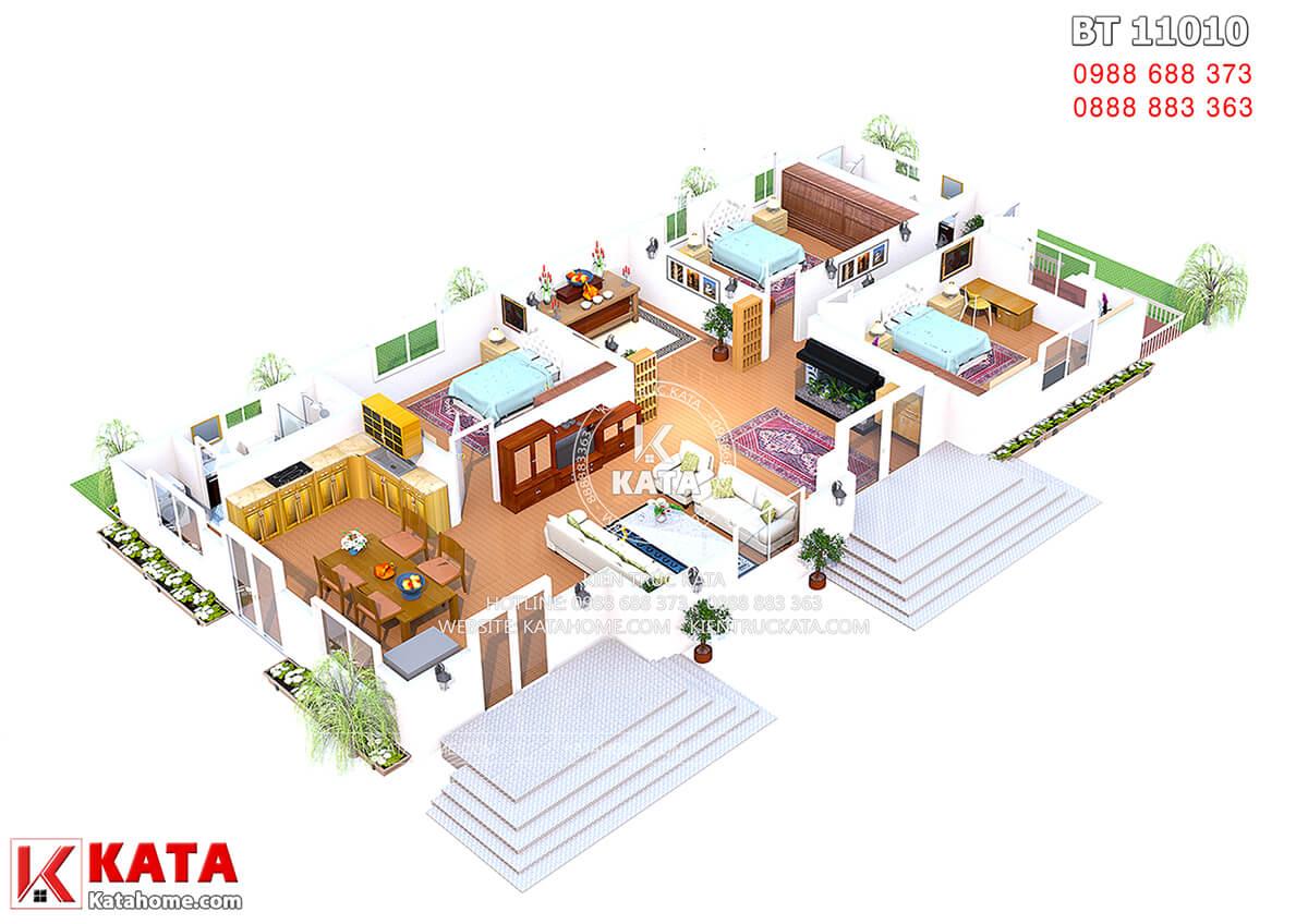 Mặt bằng nội thất mẫu nhà cấp 4 đẹp nhất Việt Nam - Mã số: BT 11010