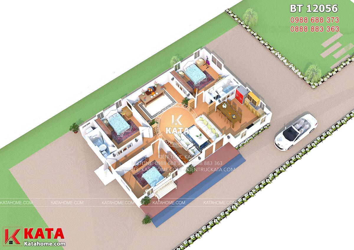 Mặt bằng thiết kế bố trí nội thất nhà cấp 4 BT 12056