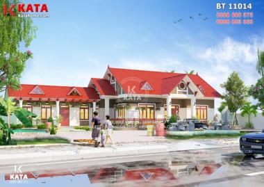 Phối cảnh ngoại thất tổng thể của mẫu thiết kế nhà 1 tầng tại Nam Định