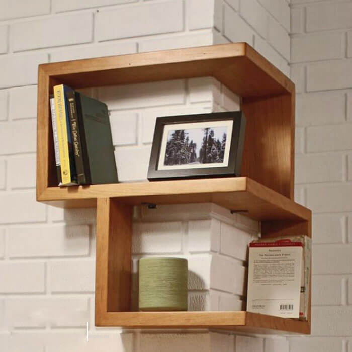 Kệ sách treo tường dạng góc nối
