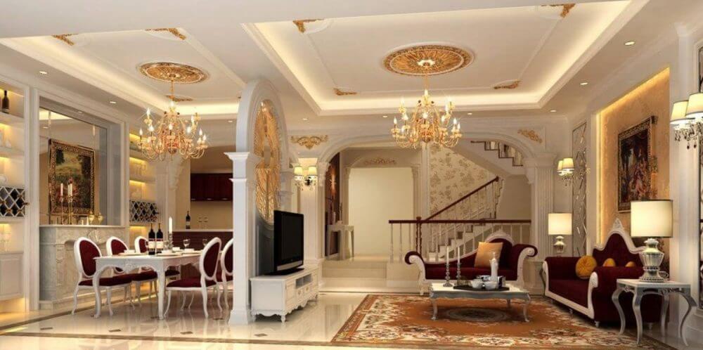 Trần thạch cao phòng khách mang phong cách kiến trúc cổ điển