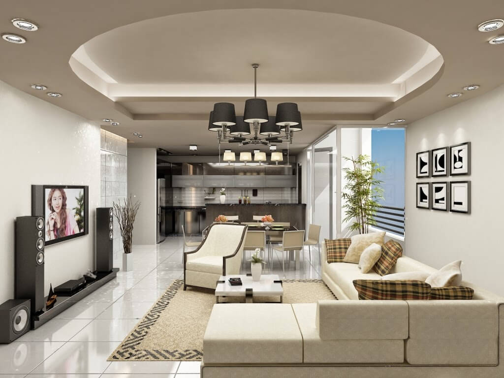 Trần thạch cao phòng khách kết hợp với trần tường