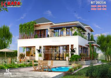 Không gian ngoại thất của mẫu thiết kế nhà vườn 2 tầng đẹp mái Thái