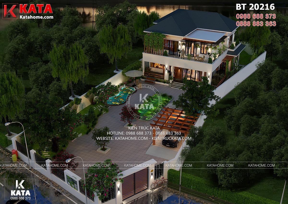 Phối cảnh 3D của mẫu thiết kế nhà vườn 2 tầng đẹp mái Thái khi nhìn từ trên cao xuống