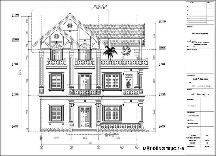 Một bản vẽ thiết kế khách sạn mini bao gồm những phần gì?