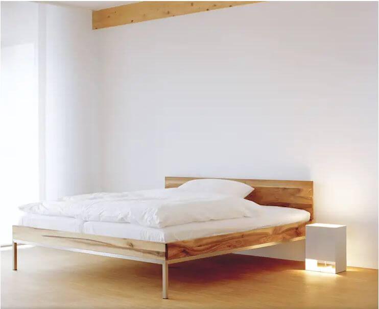 10 mẫu giường gỗ đơn giản cho phòng ngủ đẹp mê mẩn chân kim loại