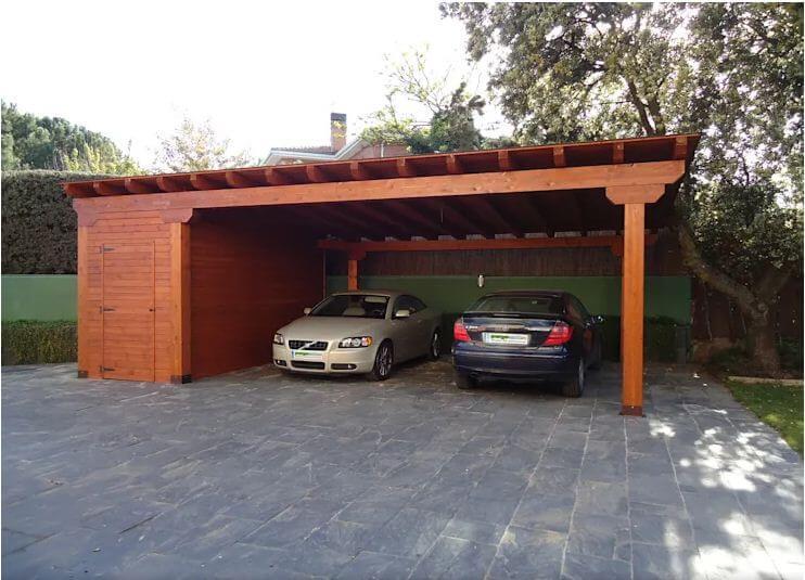 Mái hiên cho kho kết hợp nhà xe - Thiết kế mái hiên đẹp