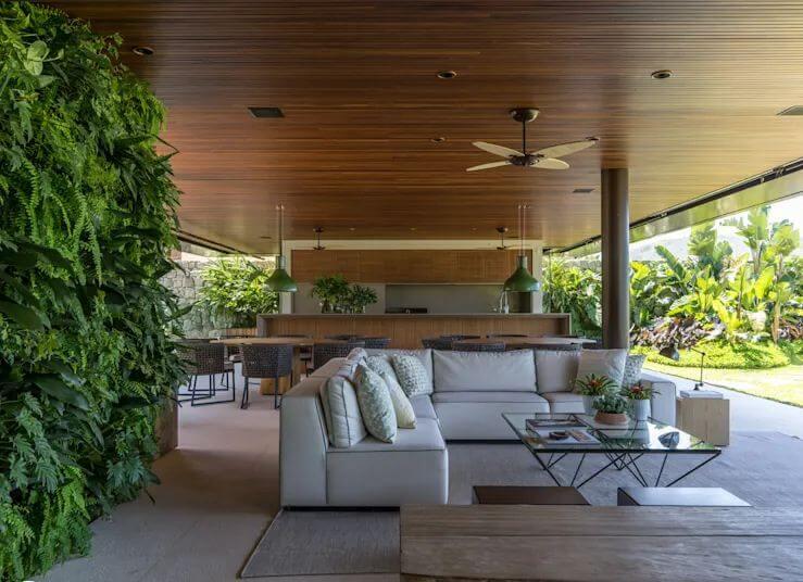 Phòng khách ấn tượng với cây xanh và kiến trúc hiện đại - Cách trang trí phòng khách