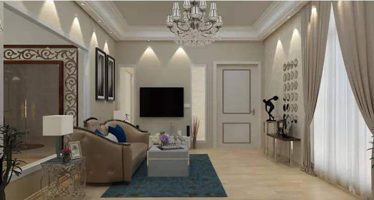 Đèn chùm nhiều nhanh + Sofa nhung - Thiết kế phòng khách