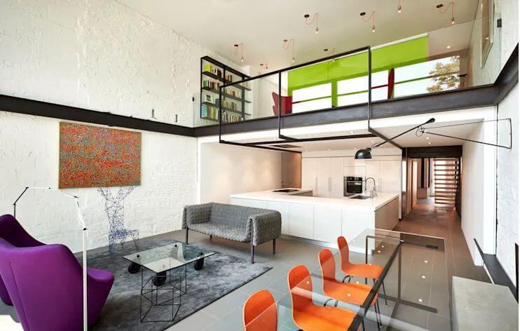 Ghế tối giản + Ghế đẩu gam màu nổi - Thiết kế phòng khách
