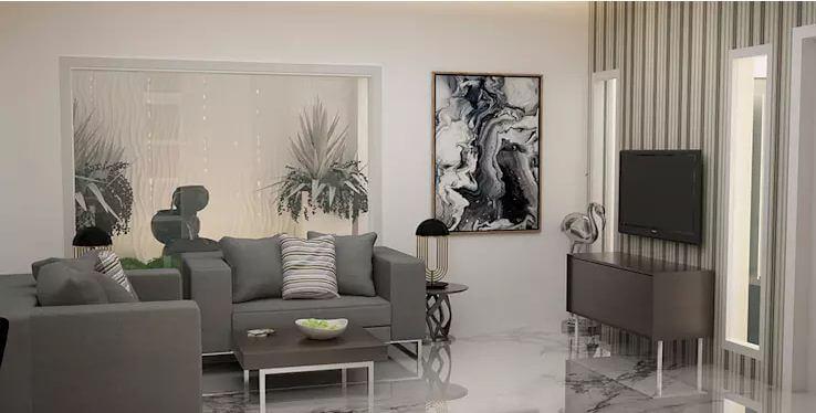 Sofa hiện đại + Tranh ảnh nghệ thuật đương đại - Thiết kế phòng khách