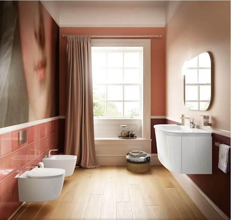 Phòng vệ sinh hài hòa với tone màu ấm - Thiết kế phòng tắm