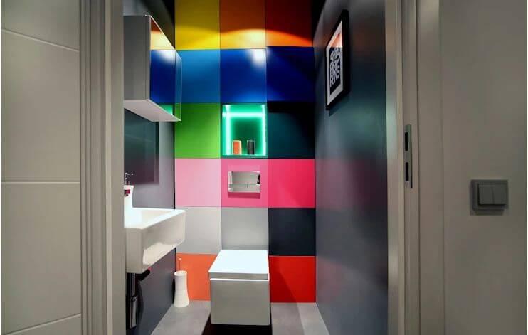 Phòng vệ sinh tuyệt đẹp với bức tường đầy màu sắc - Thiết kế phòng tắm