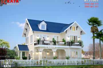 Không gian ngoại thất của mẫu nhà 2 tầng đẹp mái Thái