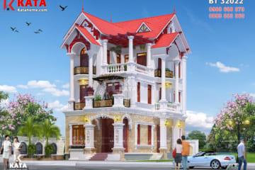 Kiến trúc mặt tiền của mẫu nhà đẹp 3 tầng mái ngói