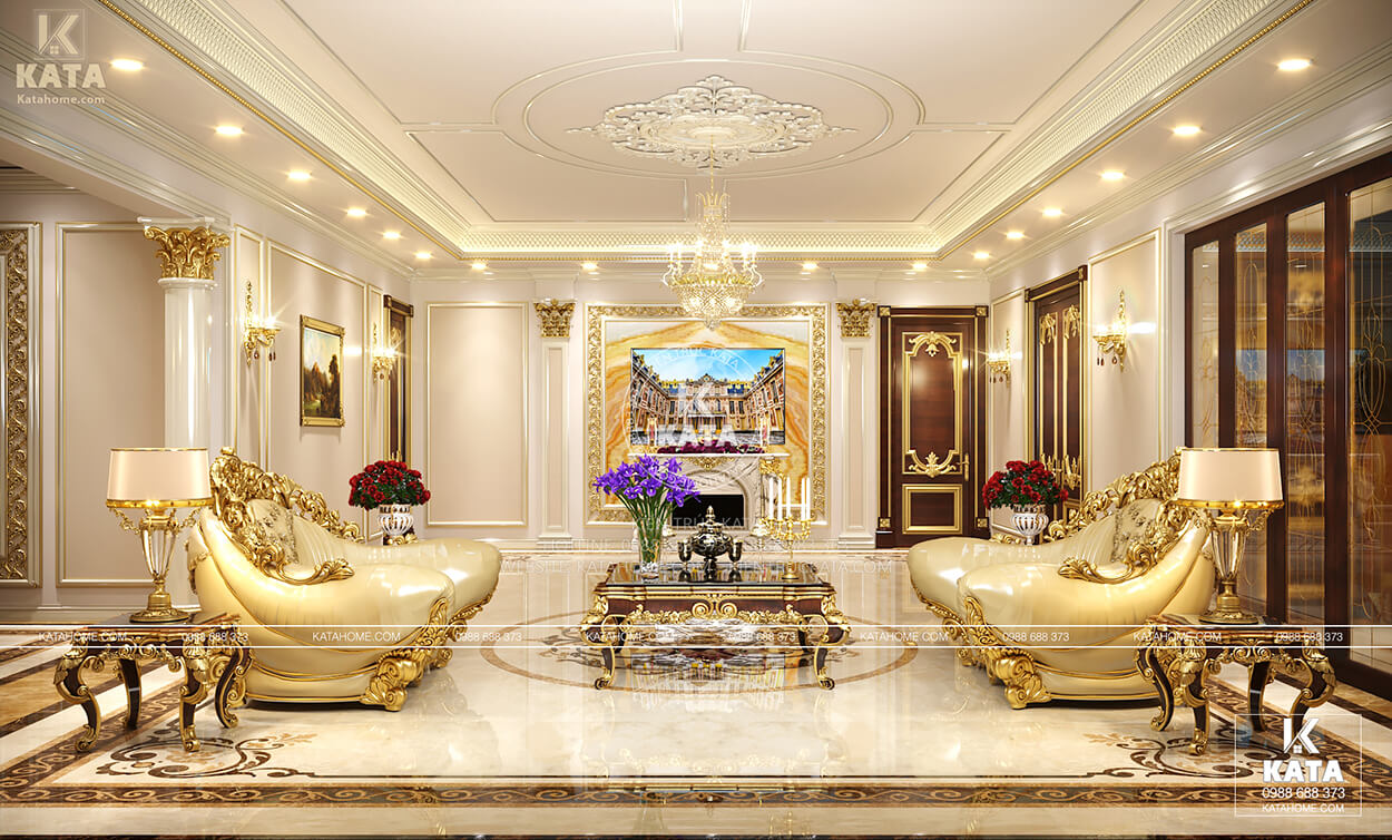 Nội thất phòng khách đẹp phong cách tân cổ điển