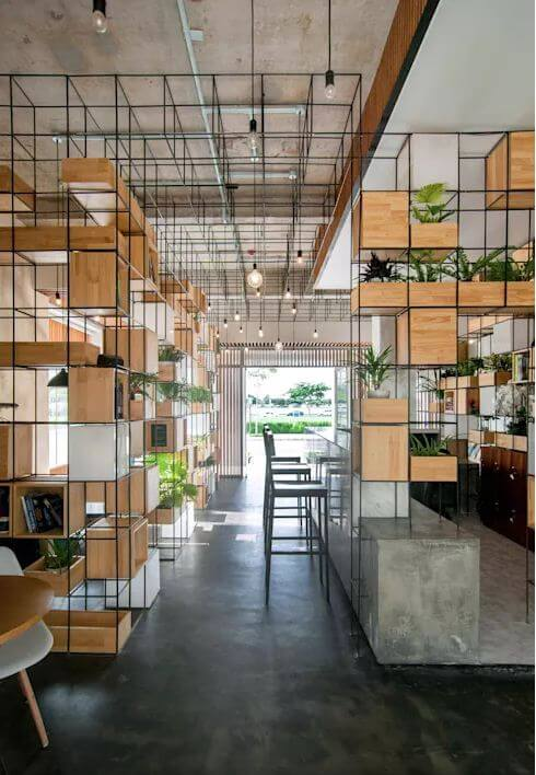 Thiết kế quán Cà phê với module gỗ - 1