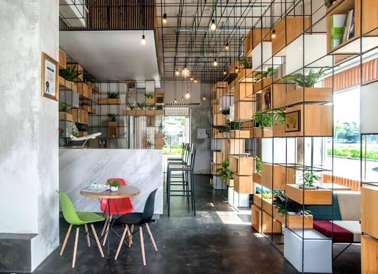 Thiết kế quán Cà phê với module gỗ