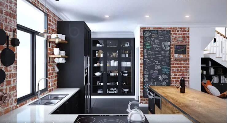 Không gian bếp đầy đủ tiện nghi - Thiết kế Studio kết hợp với không gian nhà phố